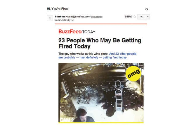 Sample of buzzfeed email