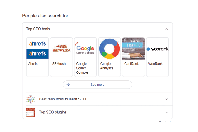 related search suggestions on google