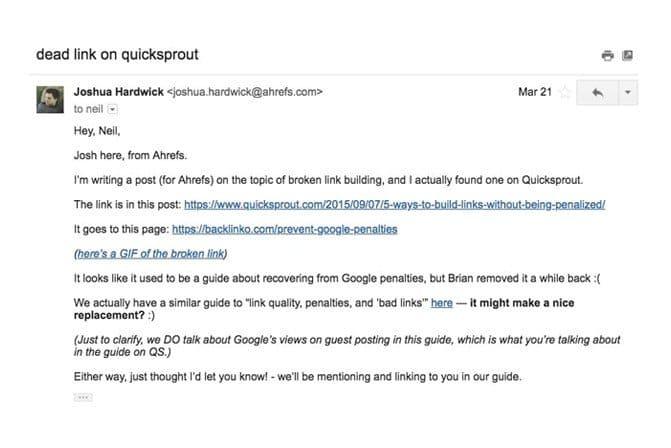 Email to fix broken links