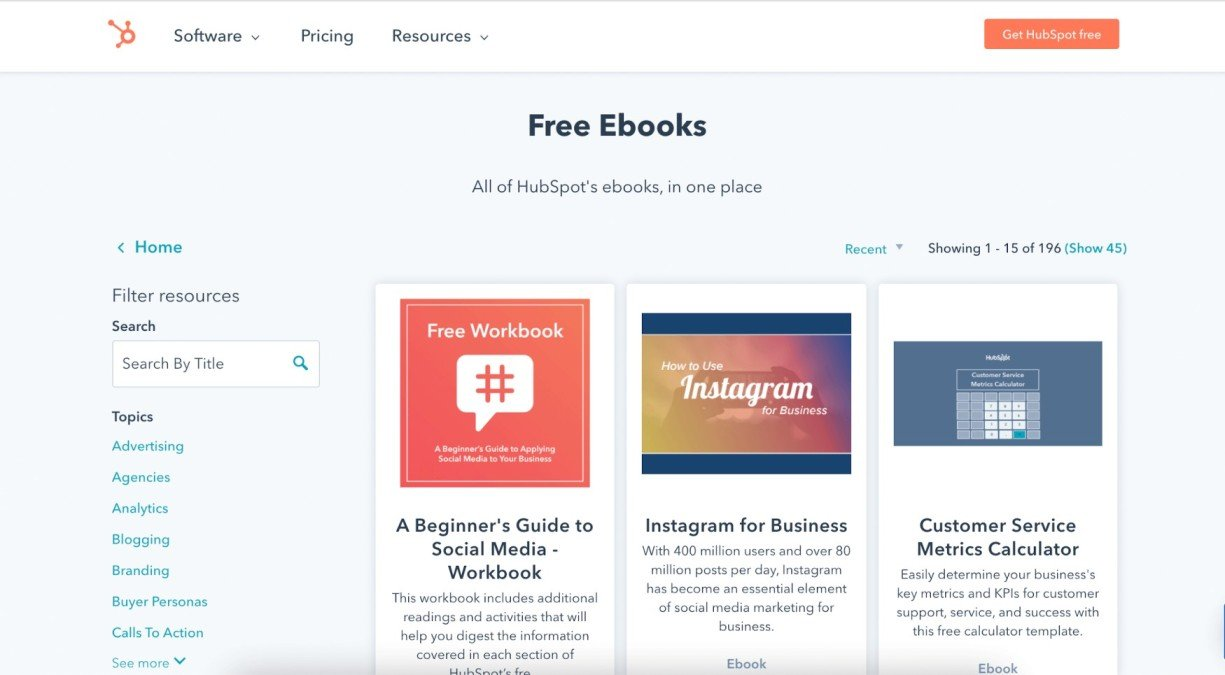 Hubspot free ebooks