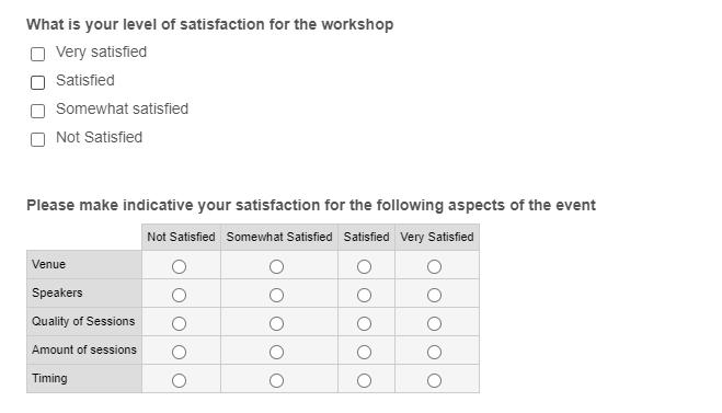Webinar Feedback form example